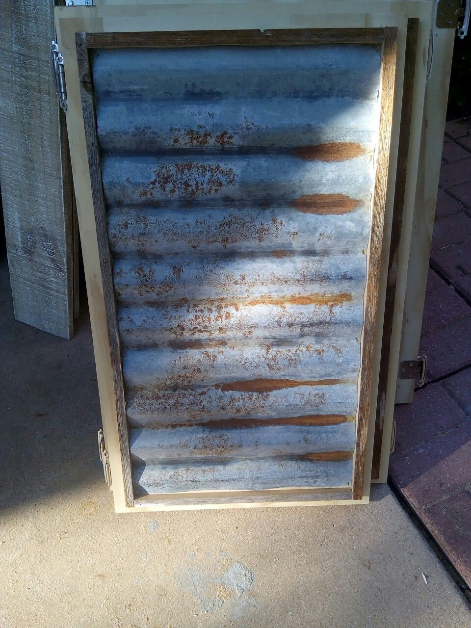 Rustic Cabinet Doors rustic cabinet door complete with rusted corrugated steel wrapped