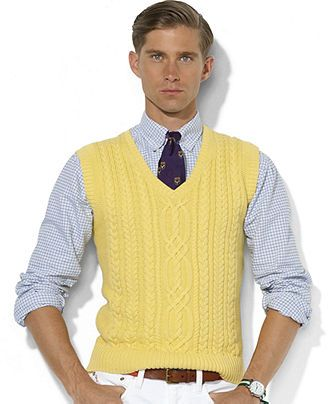 Polo Ralph Lauren Vest, Cotton-Cashmere V-Neck Cable Vest - Mens ...