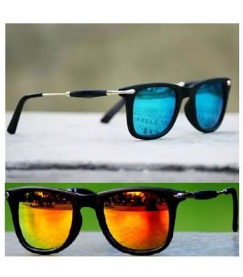 7f4e5ae24 New Fancy Sunglasses Blue And Golden Mercury Square Goggles Combo Pack Of 2  Pcs.