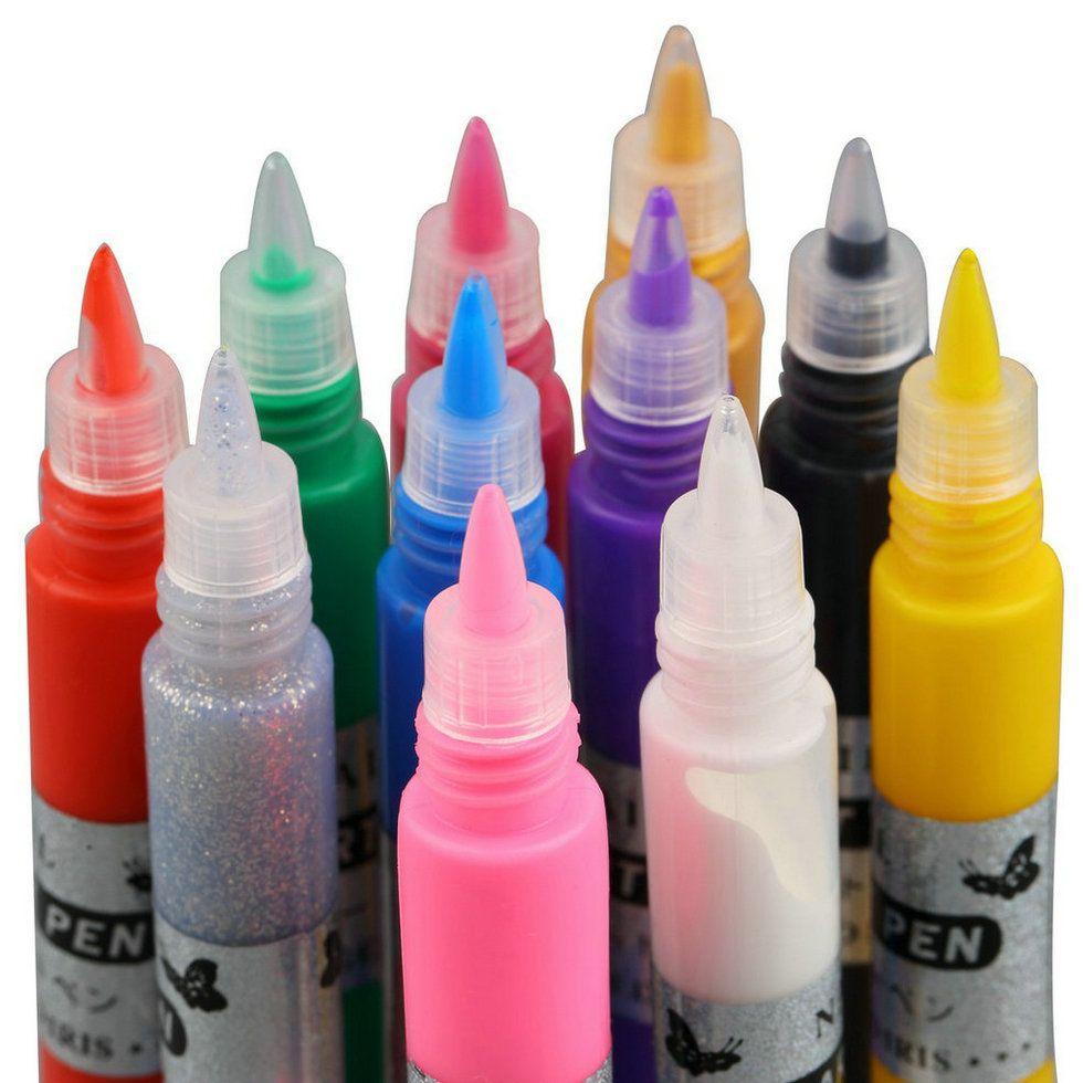 1set 12 Colors Professional Beautiful 3d Nail Art Paint Drawing Pen