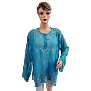 Womens Summer Blouse Sheer Georgette Tunic Blue Embroidered Kurti Top XXL (Apparel)  http://www.seobrokers.org/?p=B007NF40V0