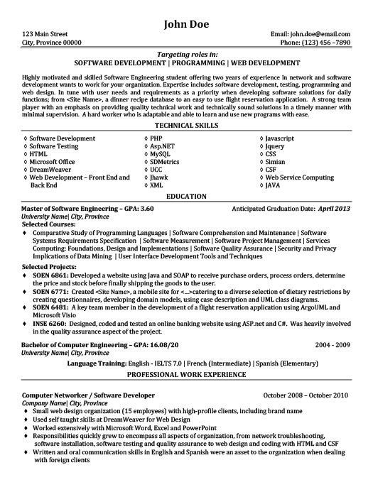 Software Development Programming Web Development Resume - computer software engineer sample resume