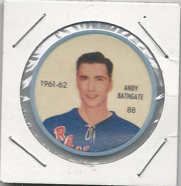 1961-62 Andy Bathgate New York Rangers Salada Hockey Coin # 88 NM-MT