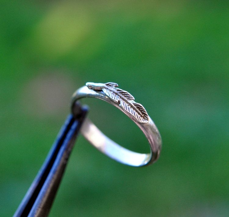 Tiny Feather ring. Solid Silver. Size 5.25. Little silver feather. Ring for girls or women. Simple Gift. Minimalist Jewelry. Children's ring by MySilverForest2015 on Etsy