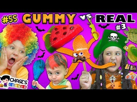 Giant Gummy Food Vs Real Food Challenge 3 Chase S