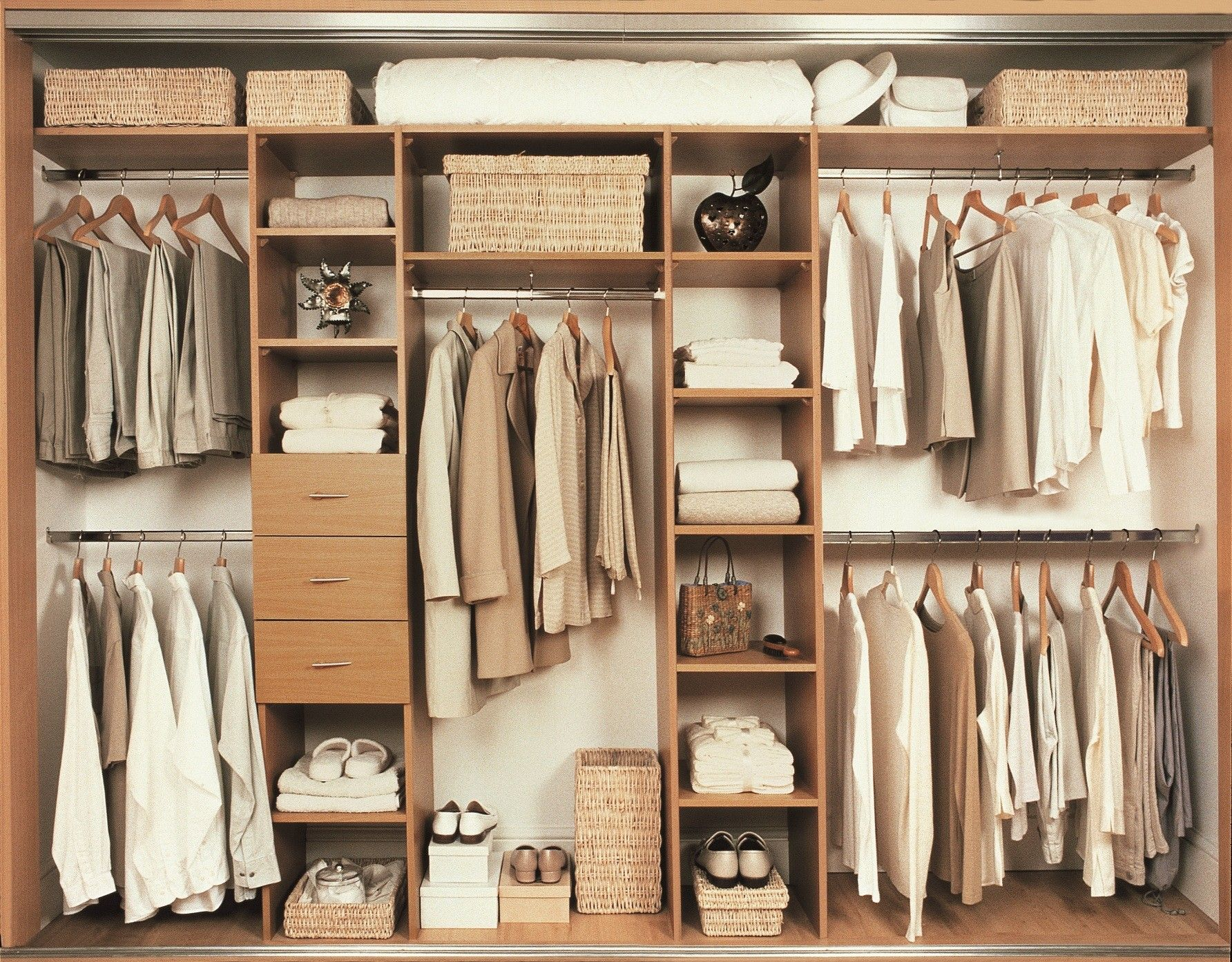 Bedroom Interior Furniture Light Brown Hardwood Closet Bedroom Cabinets With Three Drawers And Towel Closet Design Layout Closet Layout Apartment Bedroom Decor