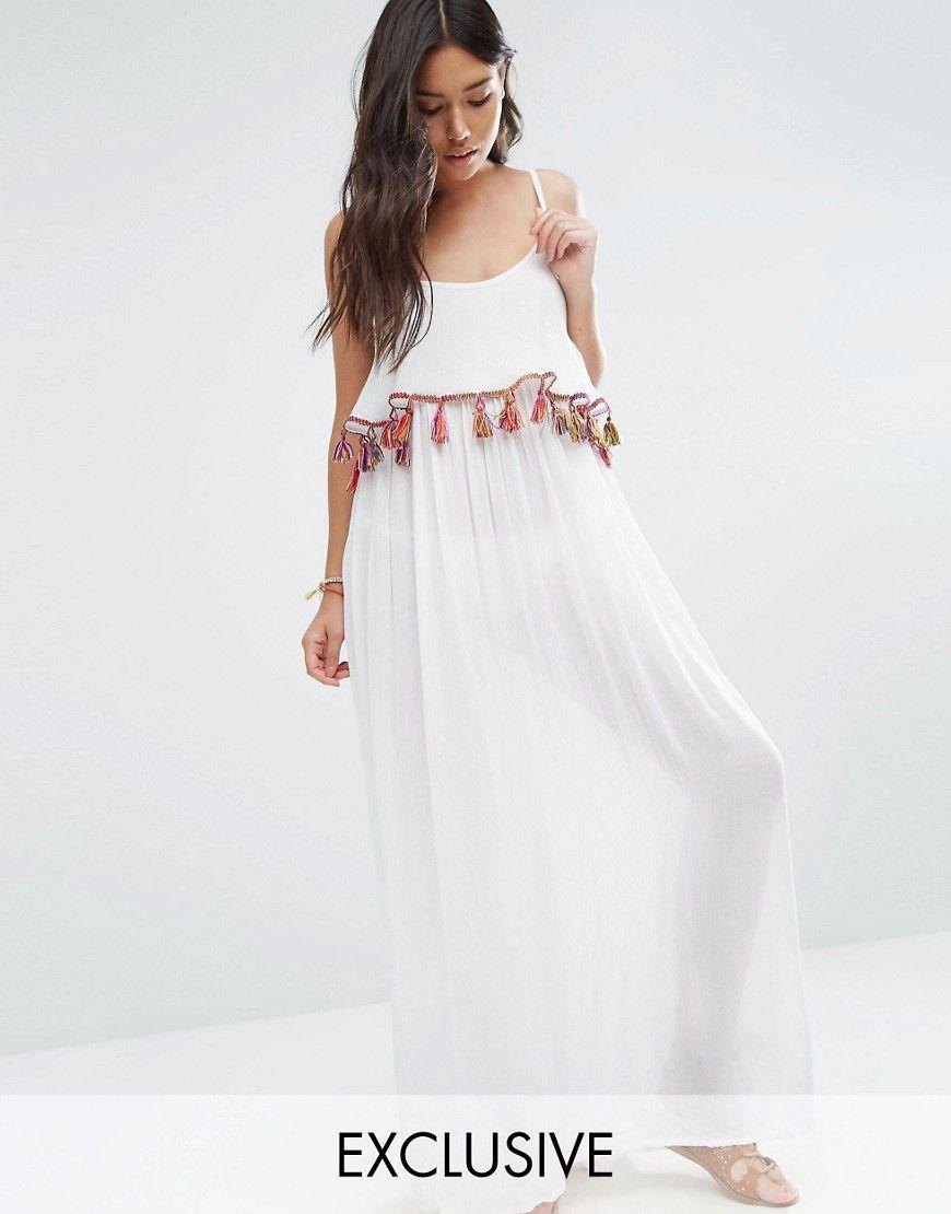 Off The Shoulder Ruffle Maxi Beach Dress - White Akasa DFLfhpgvw