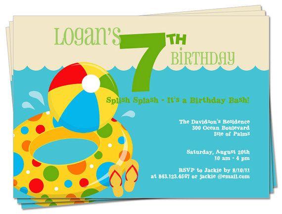 Birthday Invitation Printable Pool Party Primary by palmettomama - birthday invitation pool party