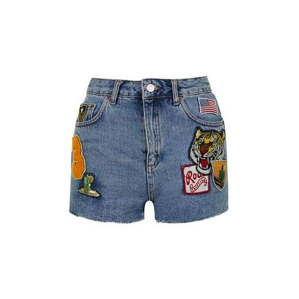 TopShop Moto Badge Mom Short ($49) ❤ liked on Polyvore featuring shorts, short, mid stone, high waisted shorts, high-rise shorts, high-waisted shorts, short shorts and topshop