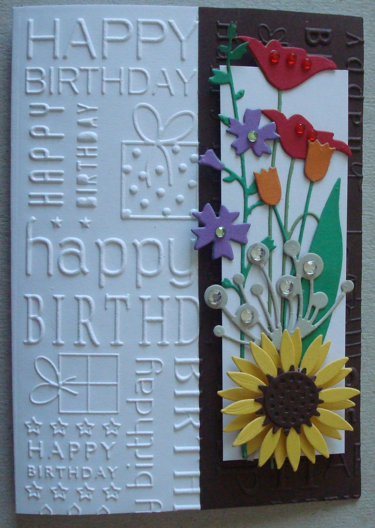 Delightful Card Making Ideas Using Embossing Folders Part - 11: G055 Hand Made Birthday Card Using Happy Birthday Embossing Folder, Prim  Poppy, Tulip,