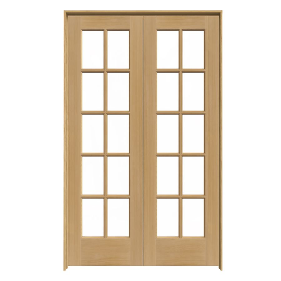 Reliabilt Prehung Solid Core 10 Lite Pine French Interior Door Common 48 In X 80 Actual 49 75 81 5