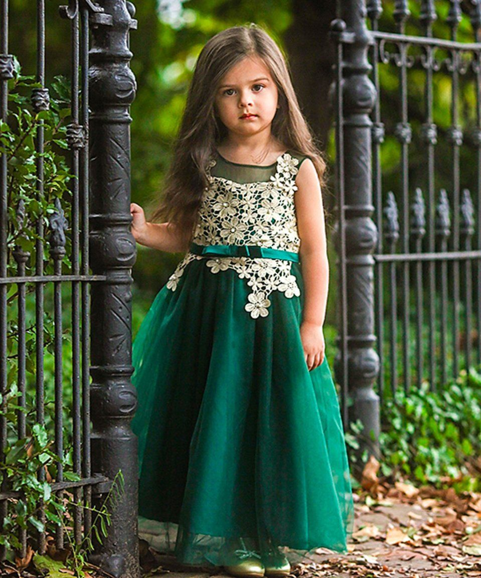 3d74eea79ef Take a look at this Emerald   Gold Floral Lace Fiona Dress - Toddler    Girls today!
