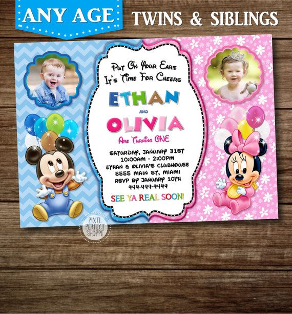 Mickey and minnie mouse baby birthday invitation invitations for mickey and minnie mouse baby birthday invitation invitations for twins or siblings baby mickey mouse baby minnie mouse stopboris Image collections