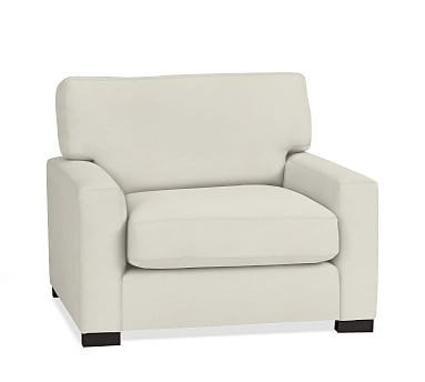 Turner Square Arm Upholstered Armchair without Nailheads, Down Blend Wrapped Cushions, Washed Linen/Cotton Ivory