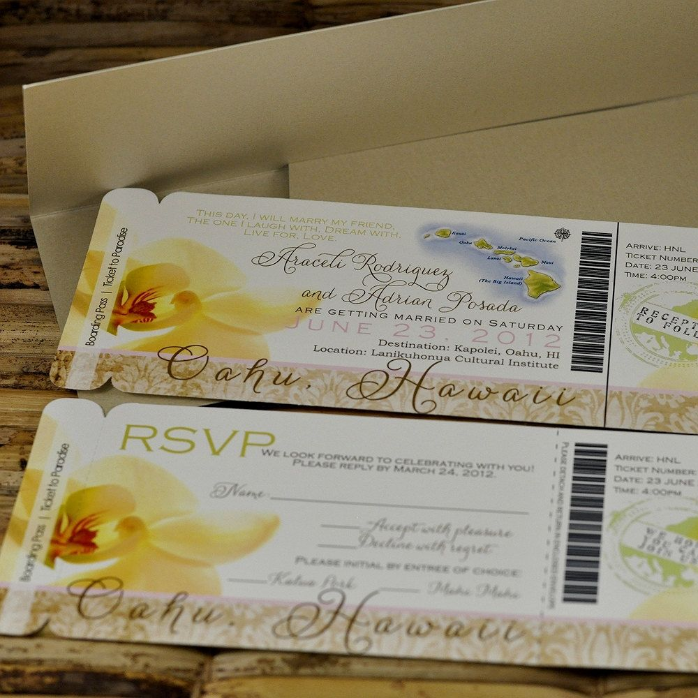 destination wedding invitation rsvp date%0A Boarding Pass Invitation or Save the Date Design Fee  Hawaiian Orchid  Design   Tropical WeddingsBeach