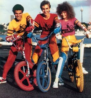 BMX Bandits, 1983. That would be Nichole Kidman on the right. Tuffs! How cool were they! Pads for the bike parts showed you weren't far away from being a professional BMX'er!