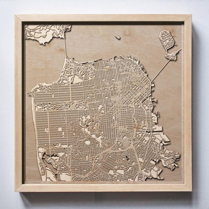 San Francisco CityWood Minimal 3D Wooden Maps by Hubert Roguski