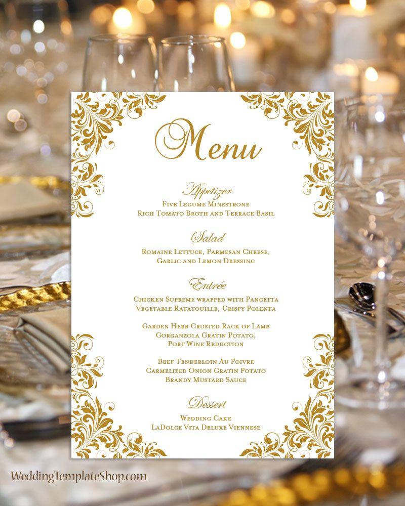 Wedding Reception Menu Template Kaitlyn Gold 5x7 Wedding Menu Template Wedding Reception Menu Wedding Menu Cards
