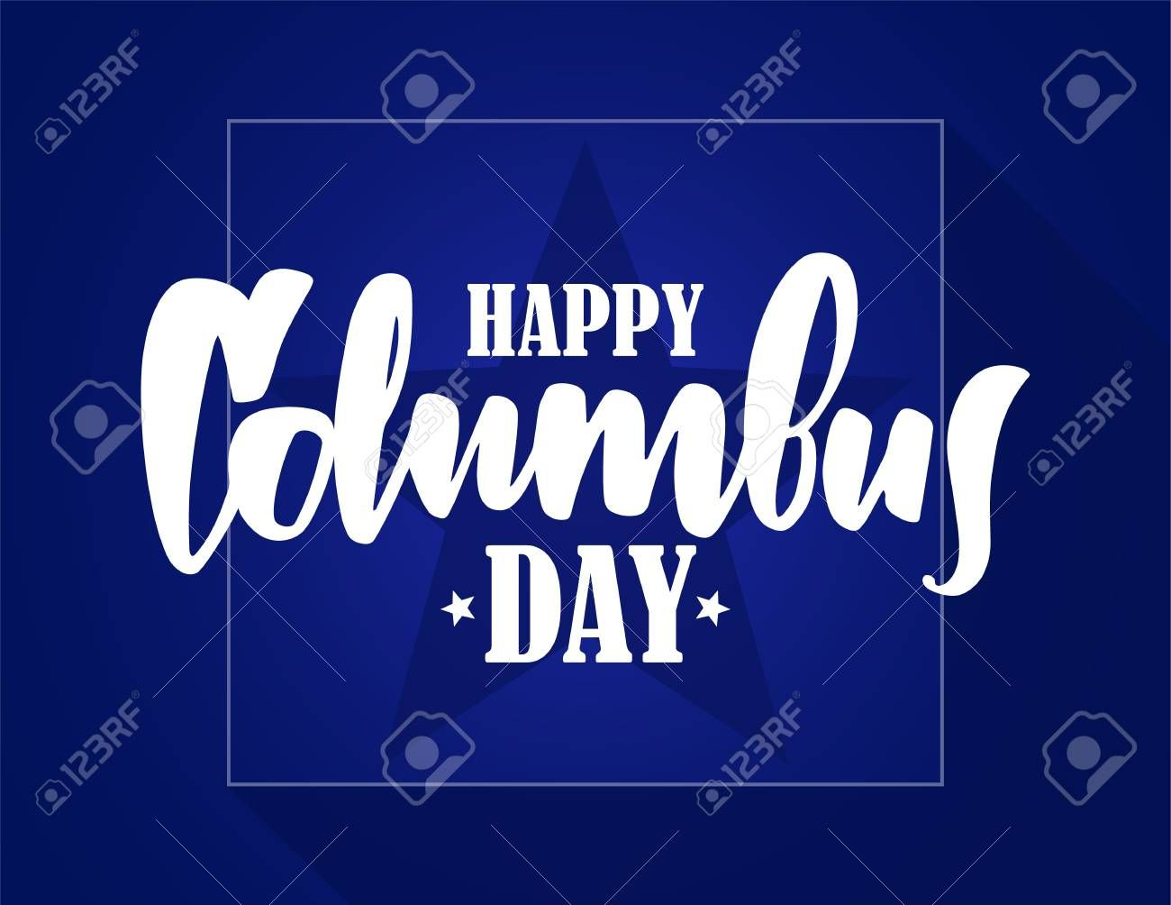 Vector Illustration Calligraphic Lettering Composition Of Happy Columbus Day Typography Design Ad Lettering Co Happy Columbus Day Lettering Neon Signs