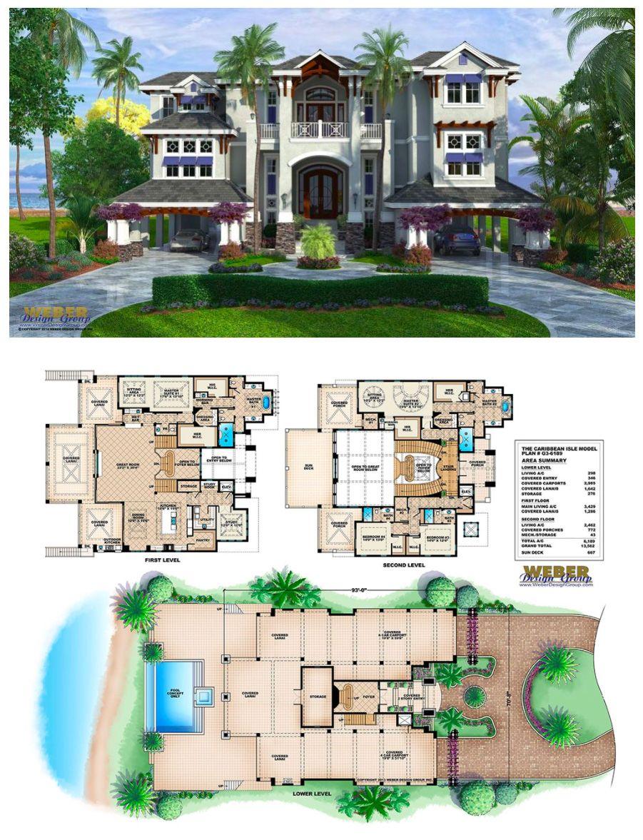 Coastal Style House Plan, 3 Story Floor Plan, Outdoor Living U0026 Pool