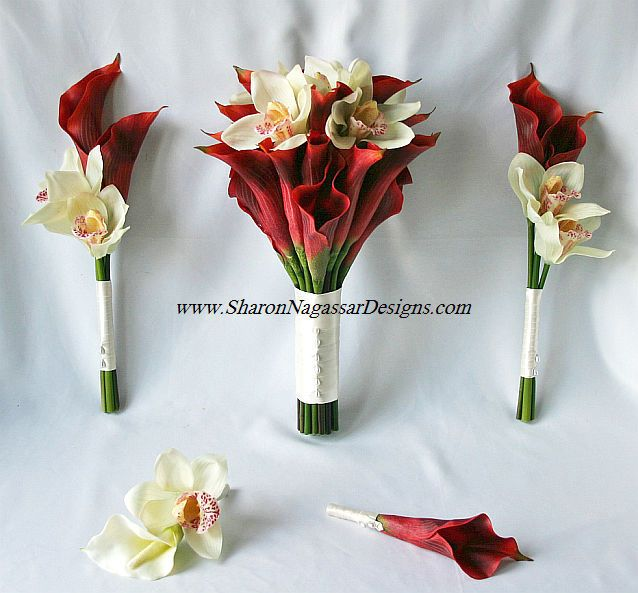 My Bouquet/Bridesmaid Bouquets/Mom & Grandma Boutonnieres/Mens Boutonniers (Calalillies-Deep Orange, Orchids-White)