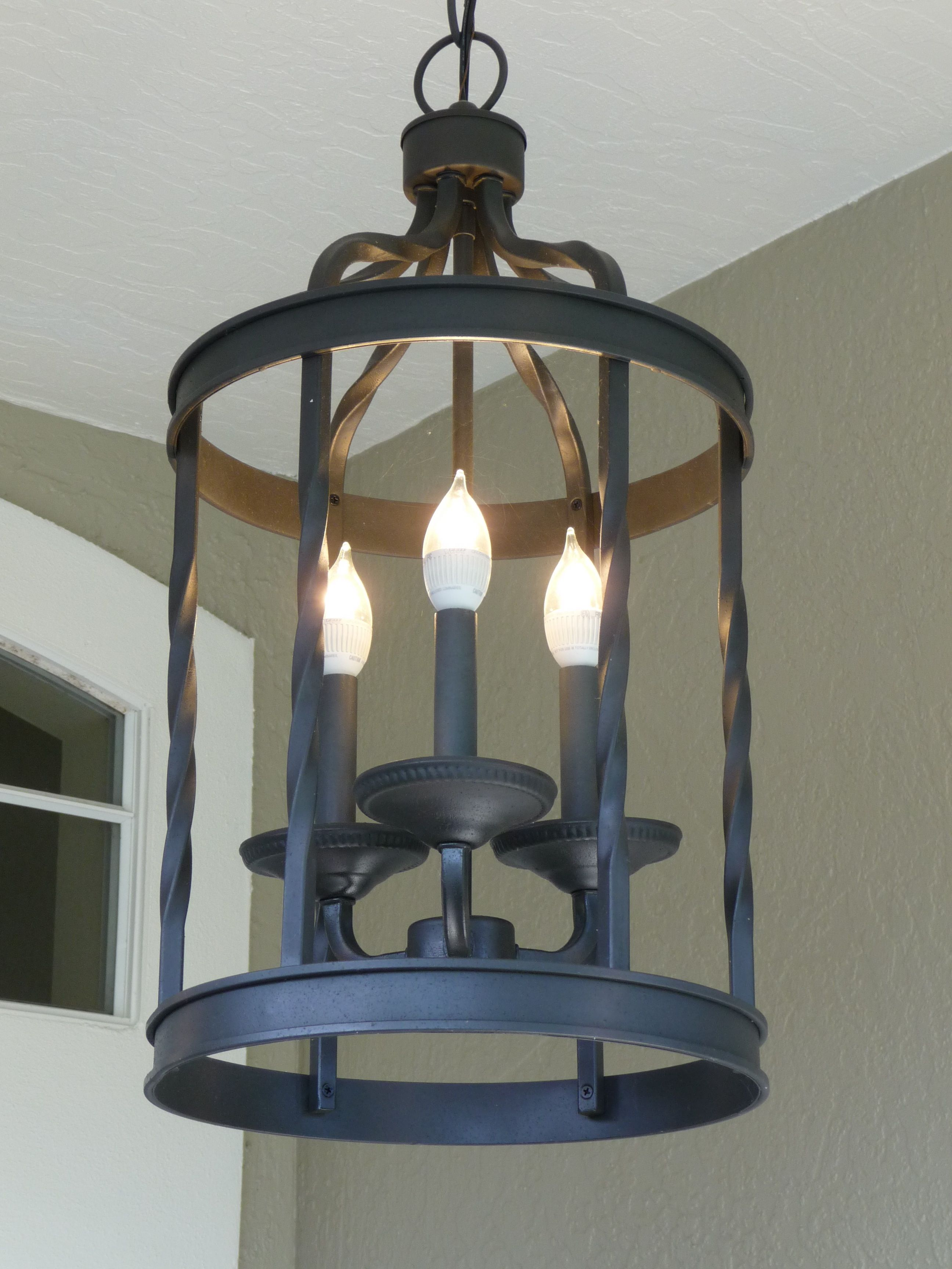 This Outdoor Chandelier Illuminates My Front Entrance With 3 Dimmable 40 Watt Equivalent Led Bulbs And The Best Part Is That Bugs Are Not