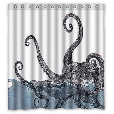 Personalized Octopus Shower Curtain 12 Holes To Which Rings Attach Bath Curtain Octopus Shower Curtains Nautical Shower Curtains Custom Shower Curtains