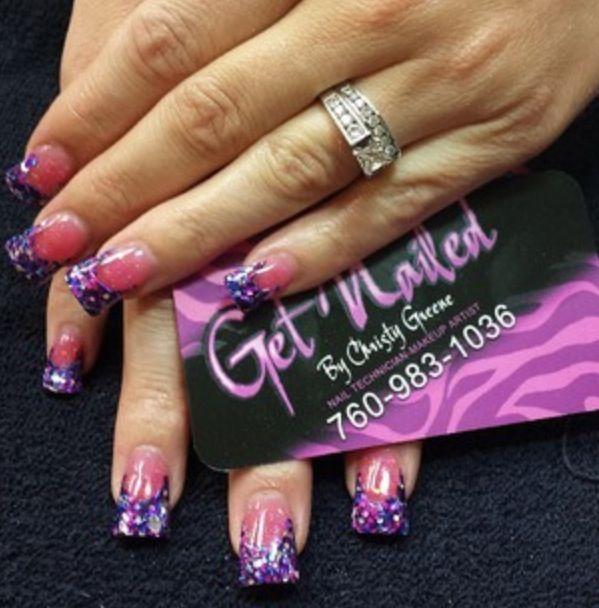 Purple pink nails