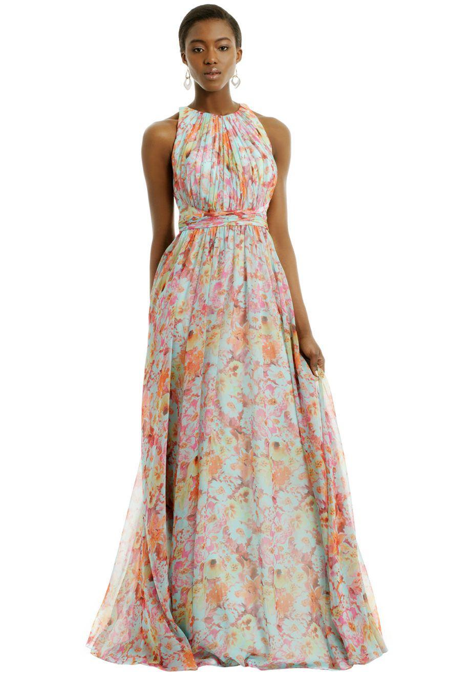 Rent the Runway Maxi dress wedding, Garden wedding