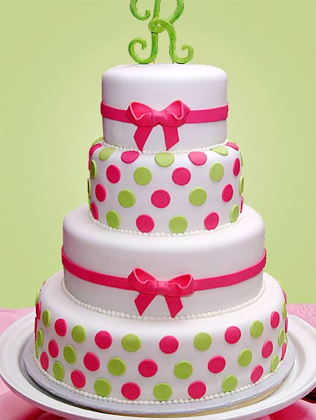 Bright Green Pink Polka Dots Wedding Cakes Pinterest Cake