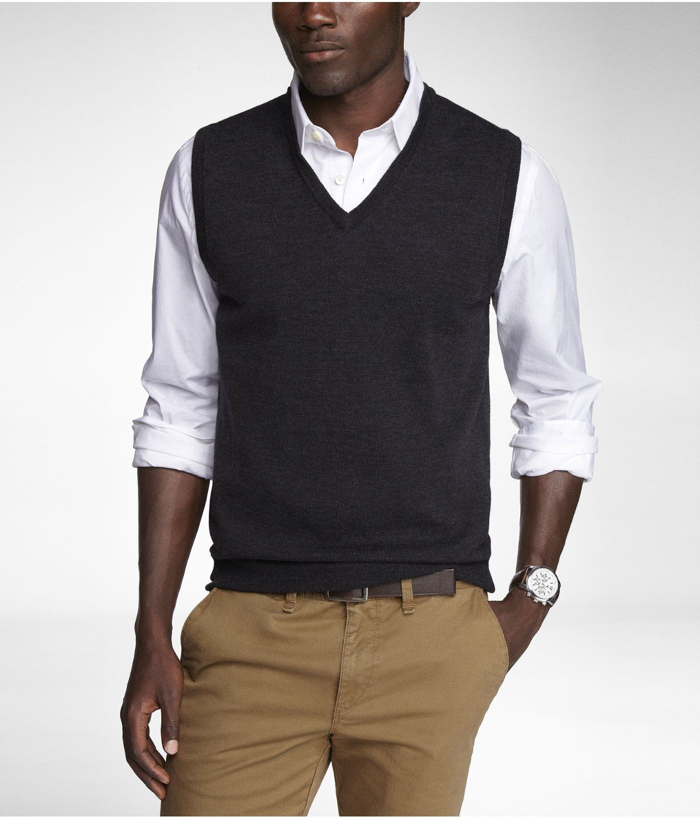 MERINO WOOL SWEATER VEST -- Charcoal -- S or XS | Work Attire ...