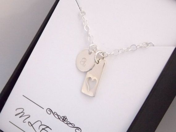 Initial Necklace Heart Personalized Sterling Silver by MleBridal