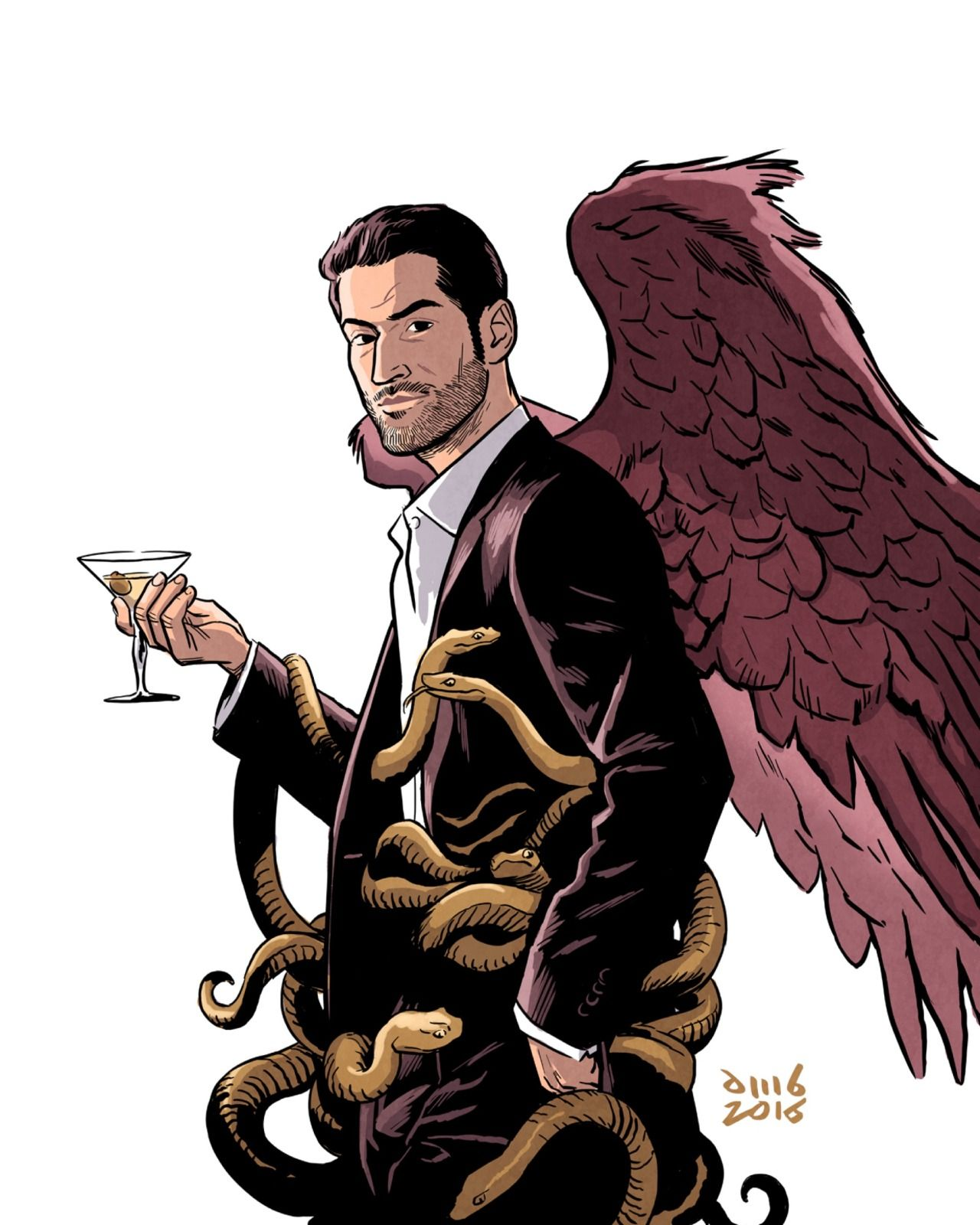 Lucifer Morningstar In Lucifer 2 2016: (my Illustration Is Based On Lucifer Comicbook Cover By