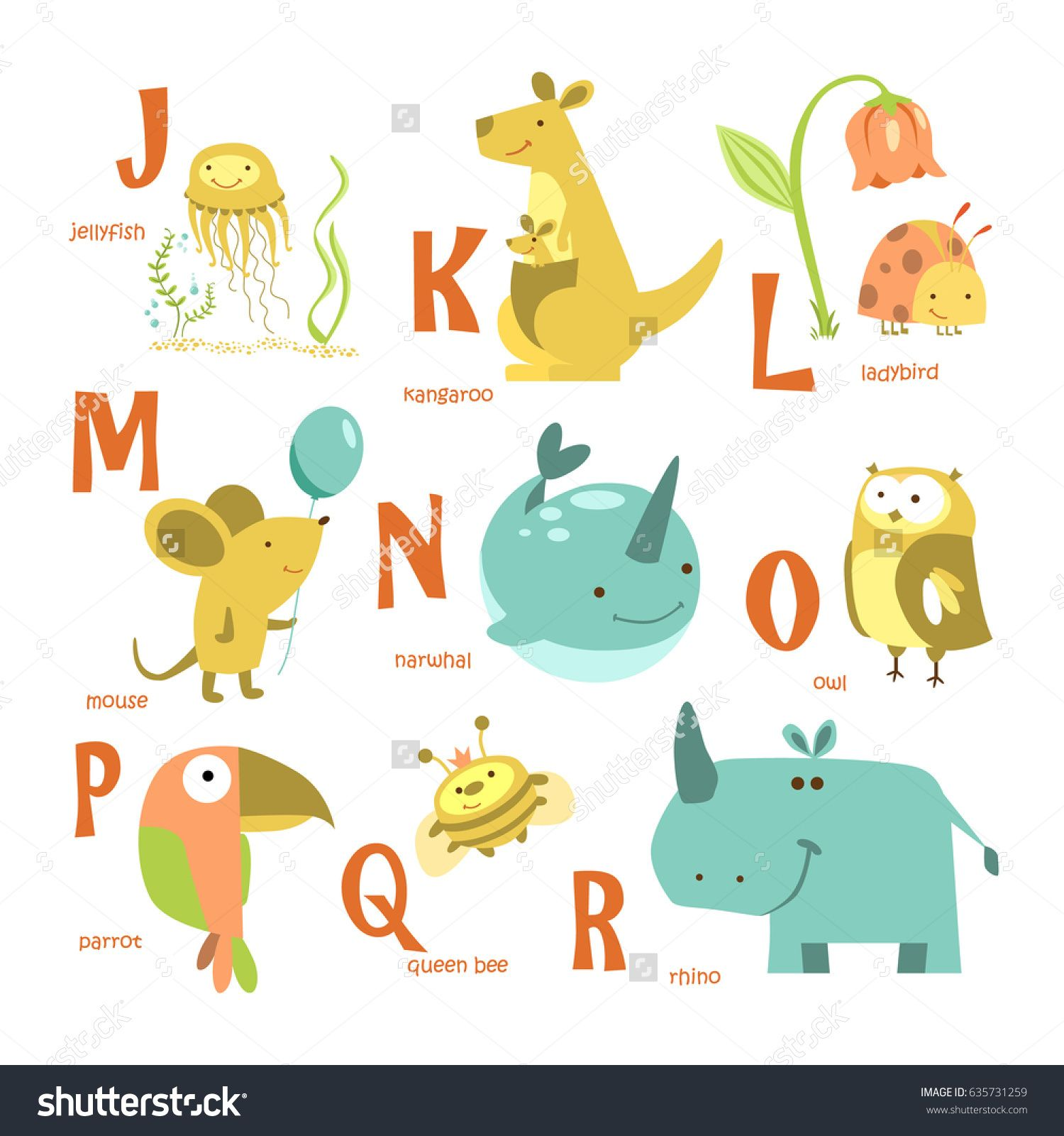 Alphabet And Animals Abc With Different Animals Flat Vector Illustration Stock Photography Images Pictures Vector Illustration Vector Stock Illustration