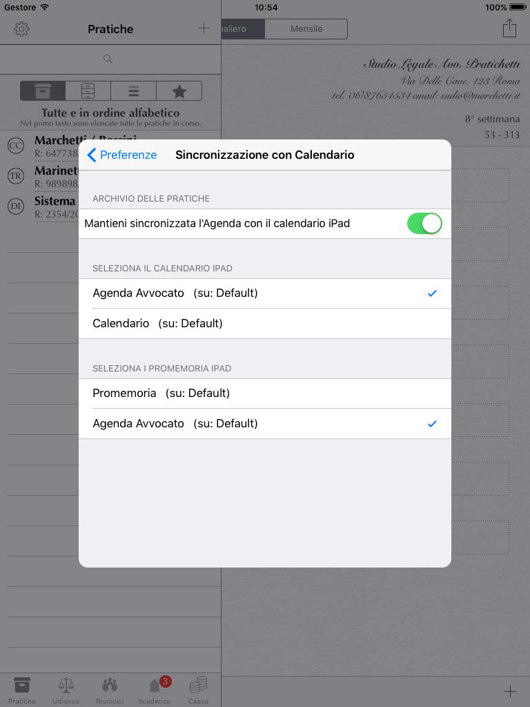 Preferenze per abilitare la sincronizzazione delle scadenze con promemoria calendario iPad - Agenda dell'Avvocato