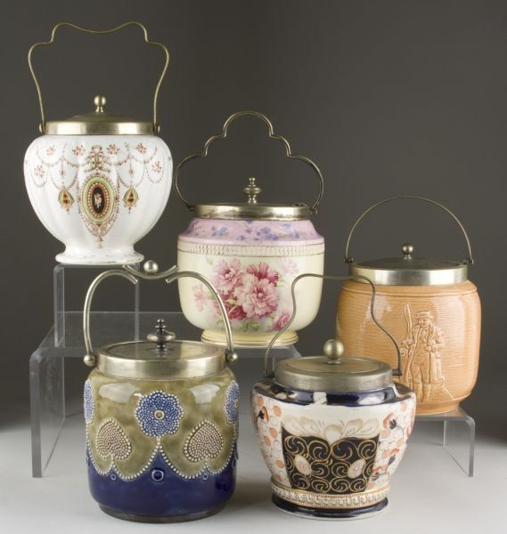 ANTIQUE BISCUIT jars | 309: Group of (5) Antique English Biscuit Jars