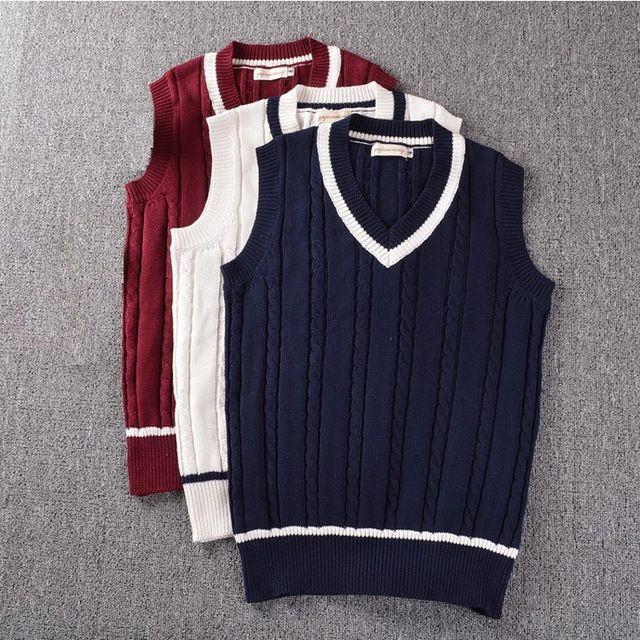 Women Girls Vintage Slim V Neck Sweater Vest Uniform Knitted Sleeveless Sweater