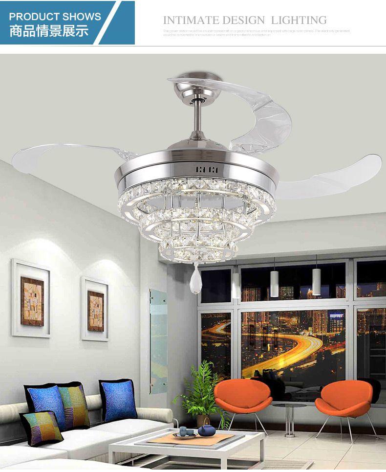 LED Crystal Stealth Ceiling Fan Lights Living Room Minimalist Restaurant Modern Light Lighting 42inch