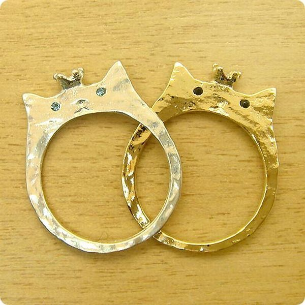 Cute cat face wedding ring Too cute No budget Wedding
