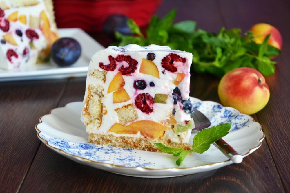 Торт Летний с фруктами ягодами желатином рецепт с фото ...