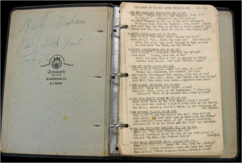 Billy Graham\u0027s sermon notes from his classes at Florida Bible