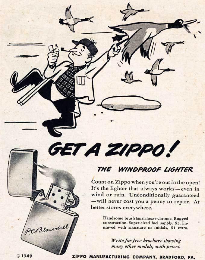 Vintage Zippo Advertisement From 1949 Vintage Advertisements Zippo Art Vintage Ads