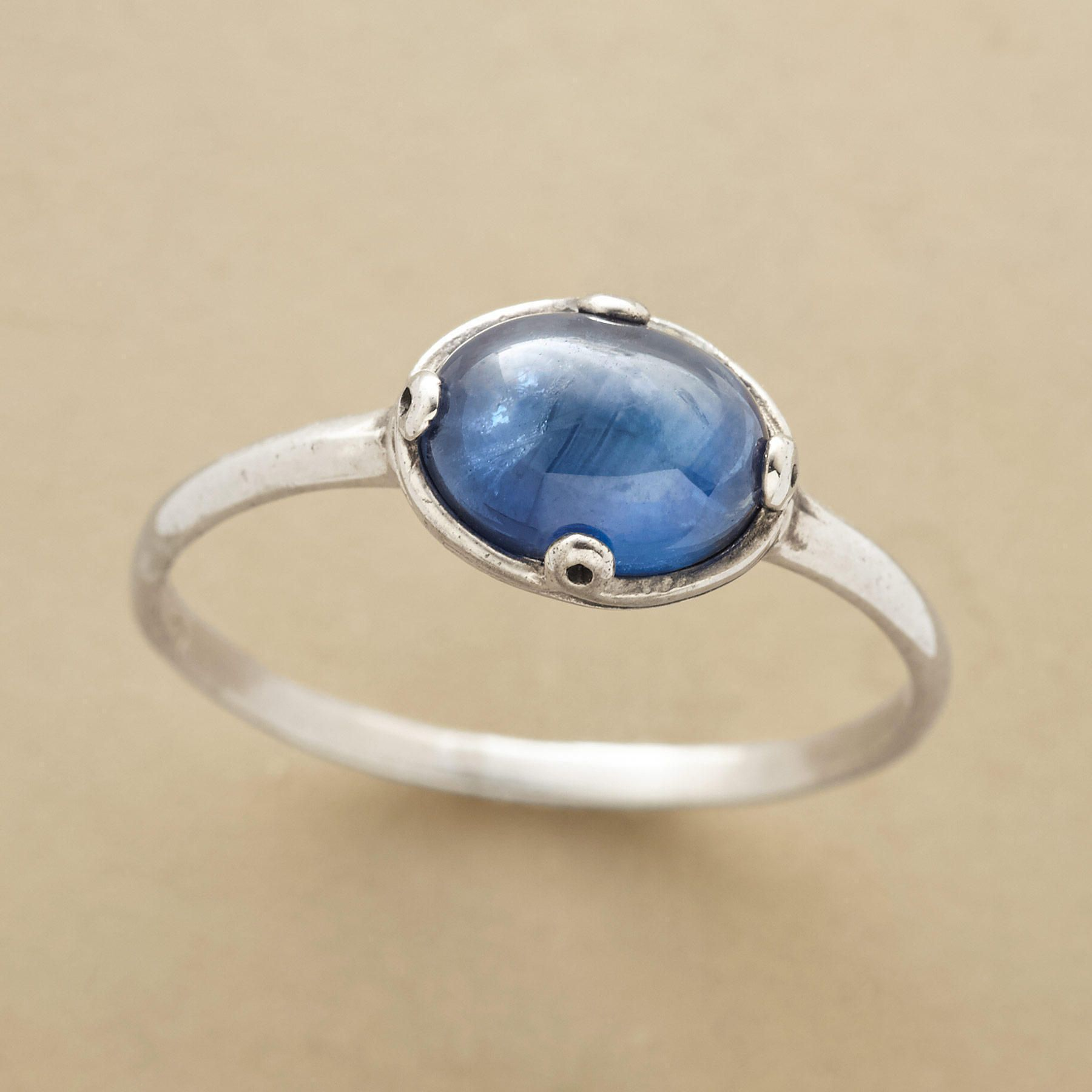 HEAVENLY SAPPHIRE RING--This heavenly oval sapphire ring is your own bit of paradise—a sterling silver ring set with an oval cabochon sapphire. Whole sizes 5 to 9.