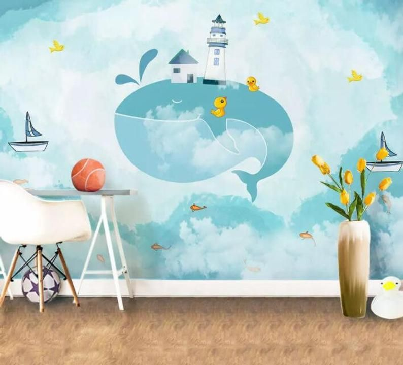3D Feather Color Sea Self-adhesive Removable Photo Wallpaper Wall Mural Sticker
