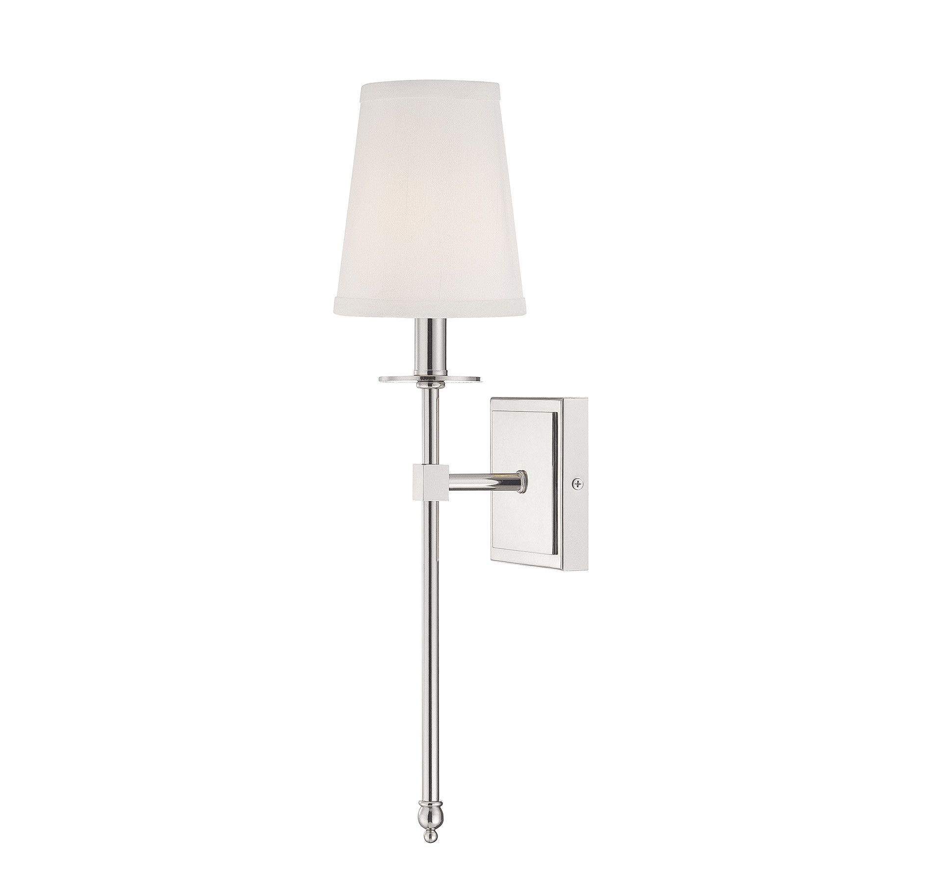 Elegant 1 Light Monroe Wall Sconce In Polished Nickel With Soft Fabric White Shade  By Savoy House