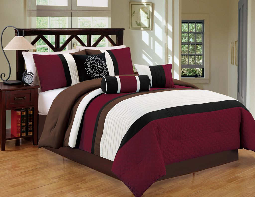 7 Piece Queen Burgundy/Coffee Comforter Set