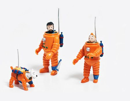 Tintin Captain Haddock and Snowy figurines in space suits from