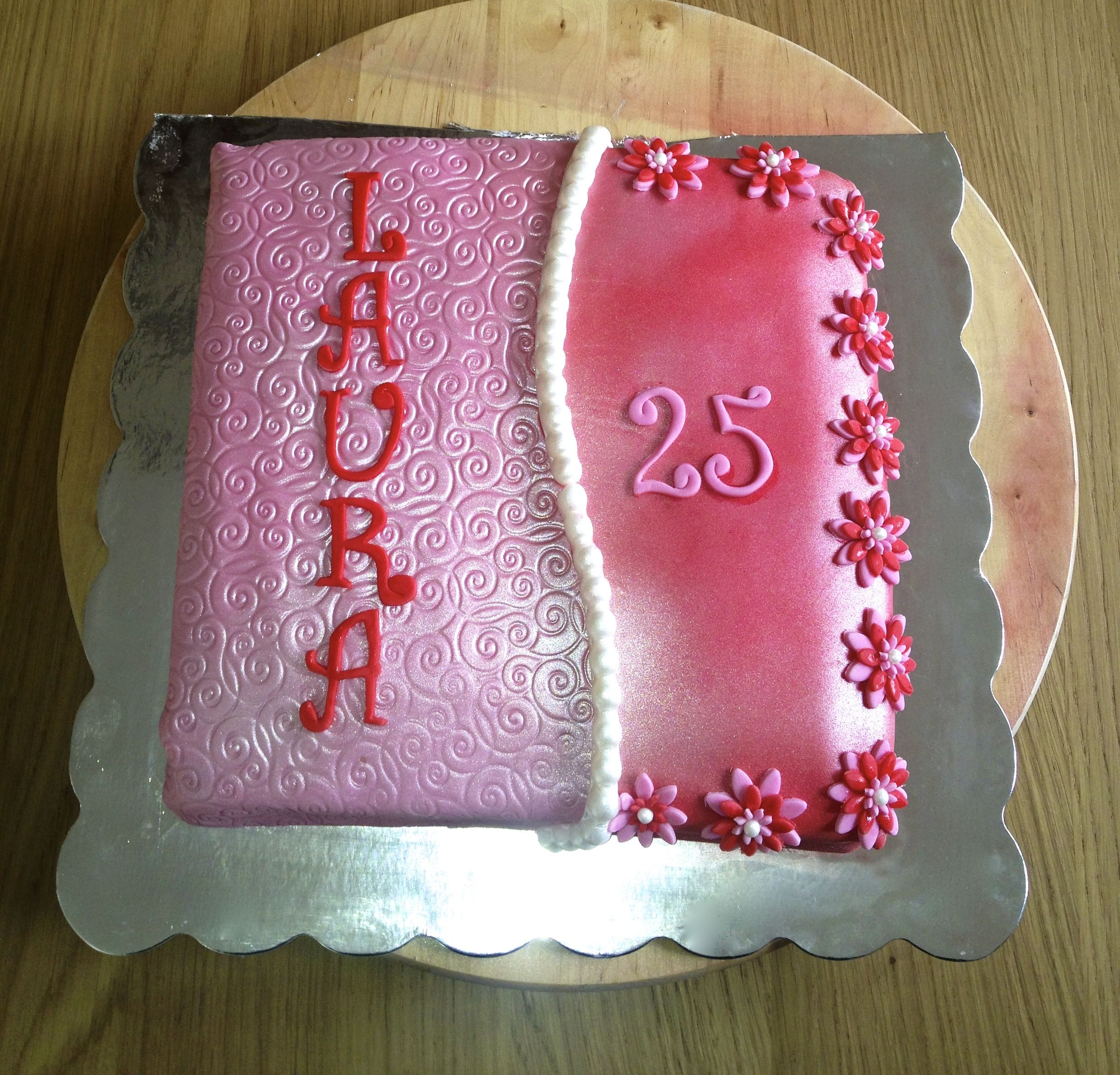 Sparkling red and pink fondant cake for super chic Laura