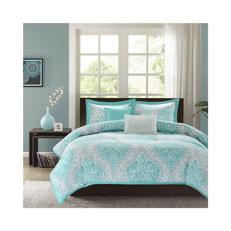 Light blue and white bedding 3 piece lattice trellis comforter set - Intelligent Design Senna Comforter Set Blue Full Queen Senna Is The Perfect Way