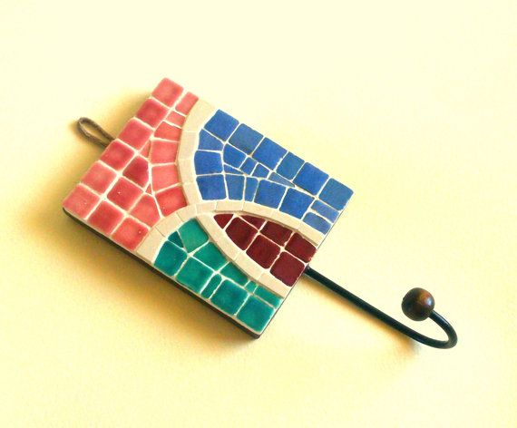 Decorative wall hook with abstract mosaic pattern   mosaico ...